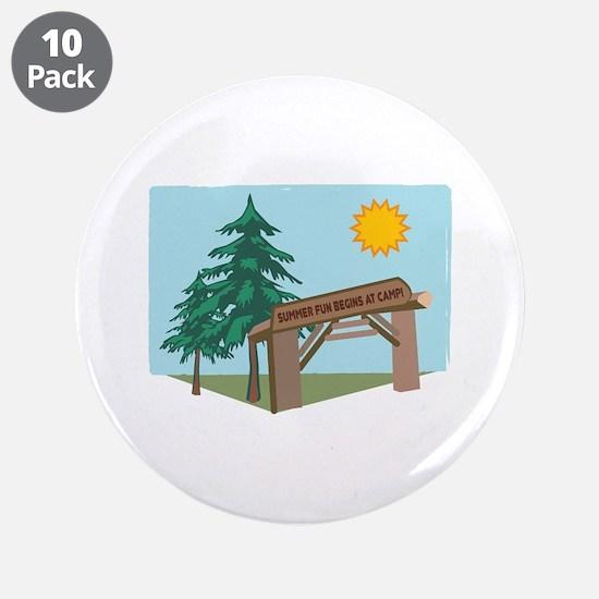 "Summer Fun Begins At Camp! 3.5"" Button (10 pack)"