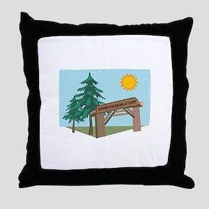 Summer Fun Begins At Camp! Throw Pillow