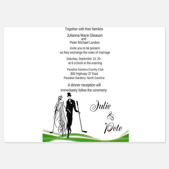 Whimsical Golfing Couple Wedding Invitations Invit