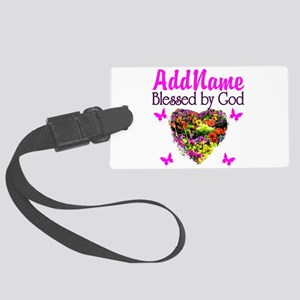 BLESSED BY GOD Large Luggage Tag