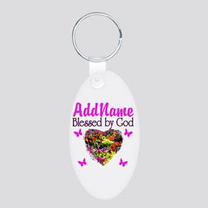 BLESSED BY GOD Aluminum Oval Keychain
