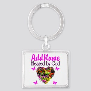 BLESSED BY GOD Landscape Keychain