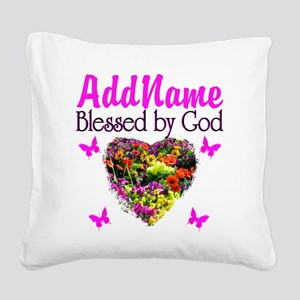 BLESSED BY GOD Square Canvas Pillow
