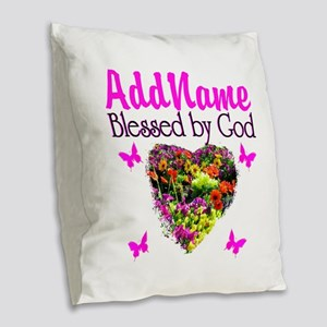 BLESSED BY GOD Burlap Throw Pillow