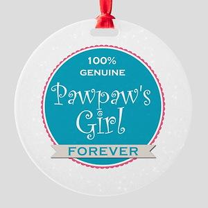 100% Pawpaw's Girl Round Ornament