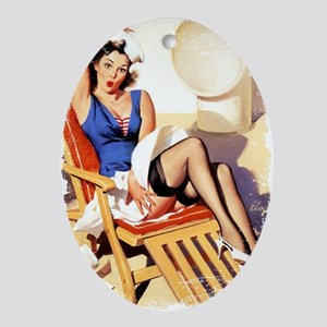 Cruise Girl Vintage Pinup Oval Ornament