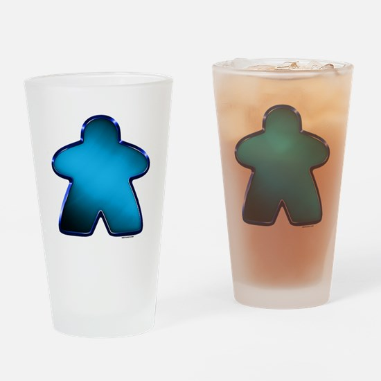 Metallic Meeple - Blue Drinking Glass