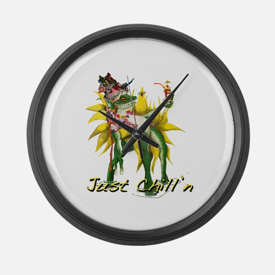 Chilln Frog Design #3 Large Wall Clock