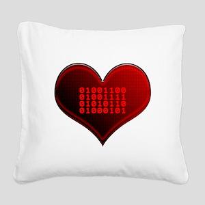 Binary LOVE Square Canvas Pillow