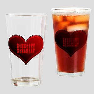 Binary LOVE Drinking Glass