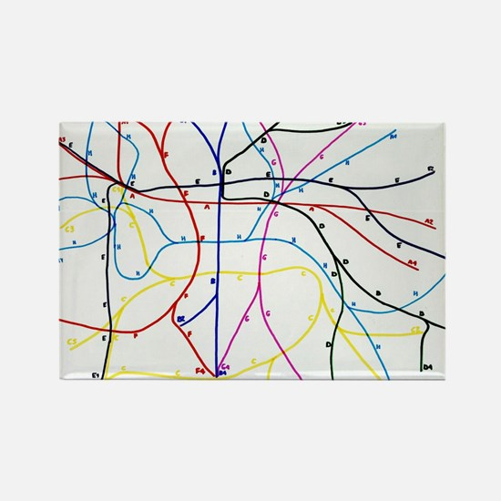 Imaginary Subway network Rectangle Magnet
