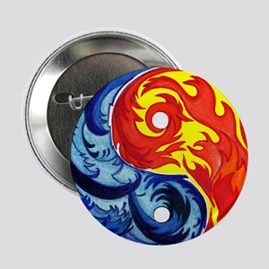 """Yin-Yang Fire and Ice 2.25"""" Button"""