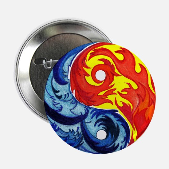 "Yin-Yang Fire and Ice 2.25"" Button"