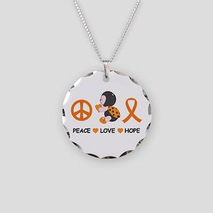 Ladybug Peace Love Hope Necklace Circle Charm