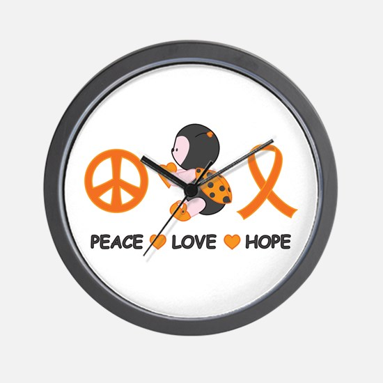 Ladybug Peace Love Hope Wall Clock