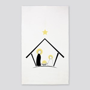 Baby In Manger 3'x5' Area Rug