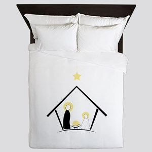 Baby In Manger Queen Duvet