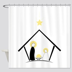 Baby In Manger Shower Curtain