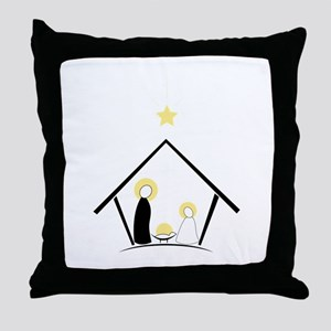 Baby In Manger Throw Pillow