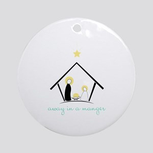 Away In A Manger Ornament (Round)