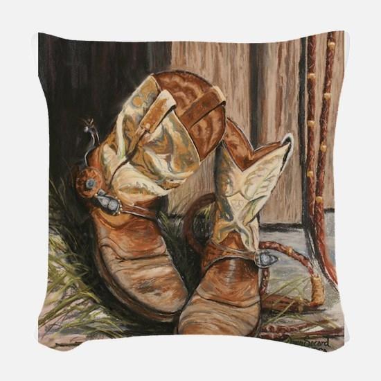 Working Boots.JPG Woven Throw Pillow