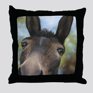 Brown Mule Art by Dawn Secord Throw Pillow