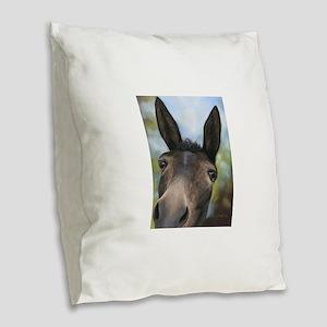 Brown Mule Art by Dawn Secord Burlap Throw Pillow