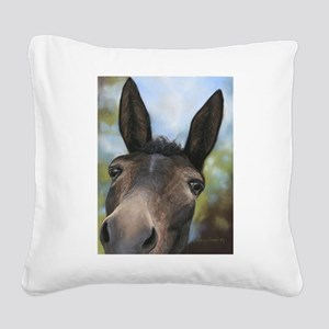 Brown Mule Art by Dawn Secord Square Canvas Pillow