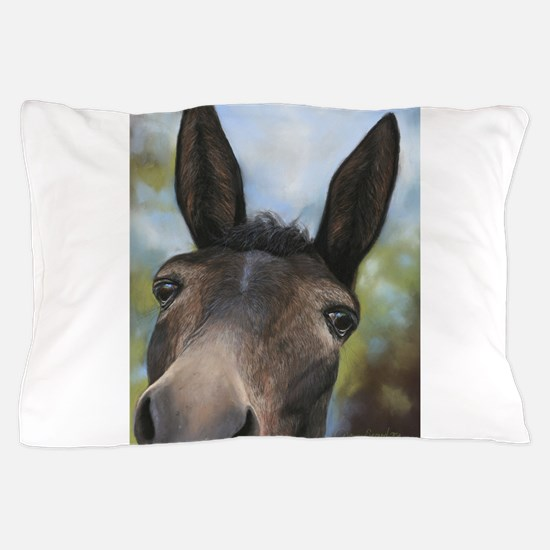 Brown Mule Art by Dawn Secord Pillow Case