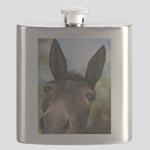 Brown Mule Art by Dawn Secord Flask