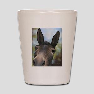 Brown Mule Art by Dawn Secord Shot Glass