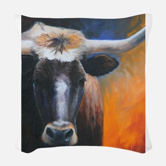Long Horn by Dawn Secord Woven Throw Pillow