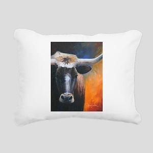 Long Horn by Dawn Secord Rectangular Canvas Pillow
