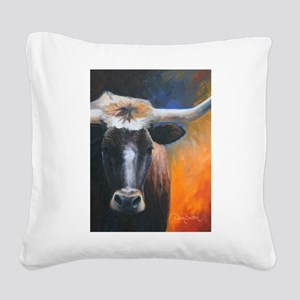 Long Horn by Dawn Secord Square Canvas Pillow