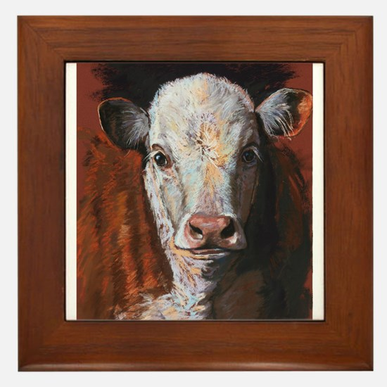 Hereford Calf by Dawn Secord Framed Tile