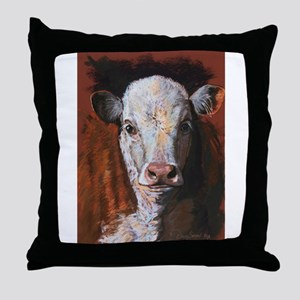 Hereford Calf by Dawn Secord Throw Pillow