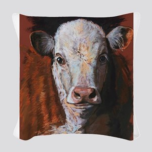 Hereford Calf by Dawn Secord Woven Throw Pillow