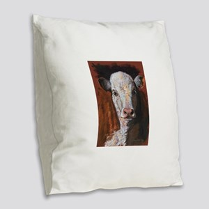 Hereford Calf by Dawn Secord Burlap Throw Pillow