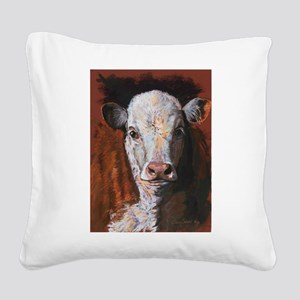 Hereford Calf by Dawn Secord Square Canvas Pillow