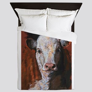 Hereford Calf by Dawn Secord Queen Duvet