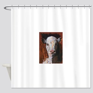 Hereford Calf by Dawn Secord Shower Curtain