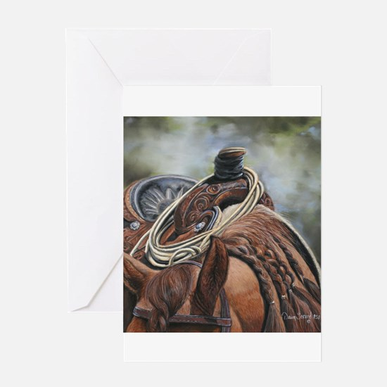 Roping Horse by Dawn Secord Greeting Cards
