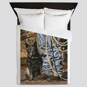 Australian Cattle Dog by Dawn Secord Queen Duvet