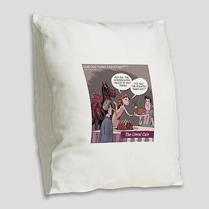 Literal Cafe Burlap Throw Pillow