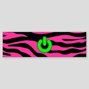 HOT PINK ZEBRA GREEN POWER Bumper Sticker
