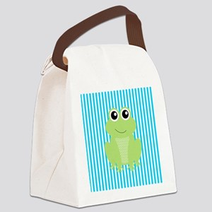 Cute Frog on Teal Stripes Canvas Lunch Bag