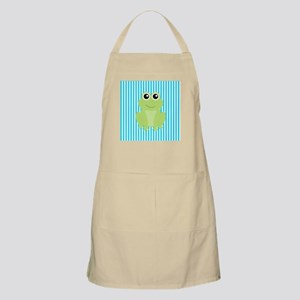 Cute Frog on Teal Stripes Apron
