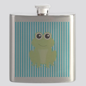 Cute Frog on Teal Stripes Flask