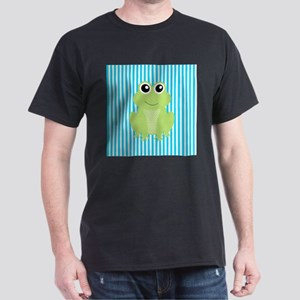 Cute Frog on Teal Stripes T-Shirt