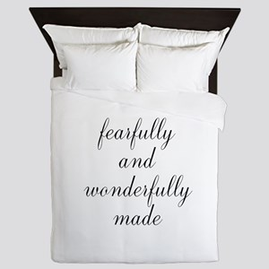 Fearfully and Wonderfully Made Script Queen Duvet